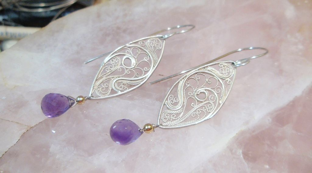"Sterling and Fine Silver  Filigree  Amethyst  ""Eye of Isis"" Earrings"