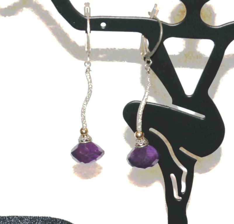 Sterling Silver Amethyst Onion Briolette with 14KT Accents & S Tube earrings