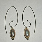 Sterling Silver Fresh Water Pink Pearl Swirl Drops - Earrings