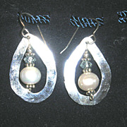Sterling Silver Hammered Tear Drops with FW Pearls and Topaz - Earrings