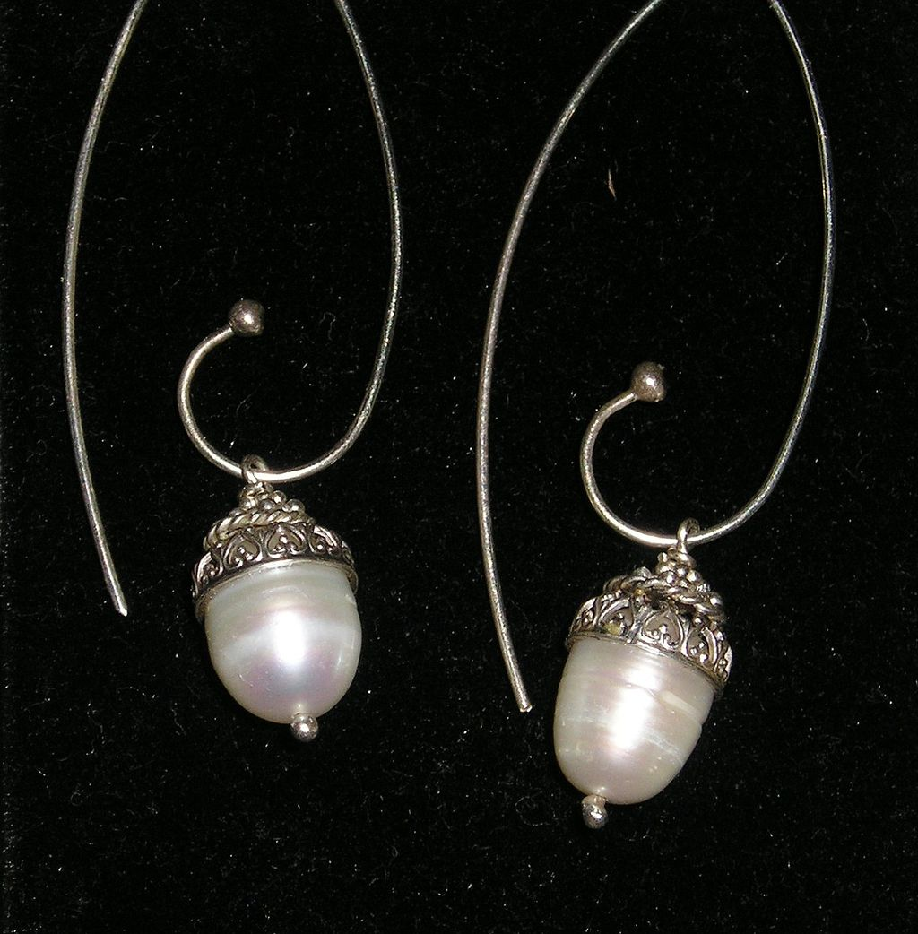 Sterling Silver Fresh Water Pearl Filigree Swirl Drops - Earrings