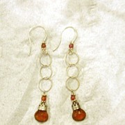 SS Hessonite Garnet and tourmaline Filigree Drops