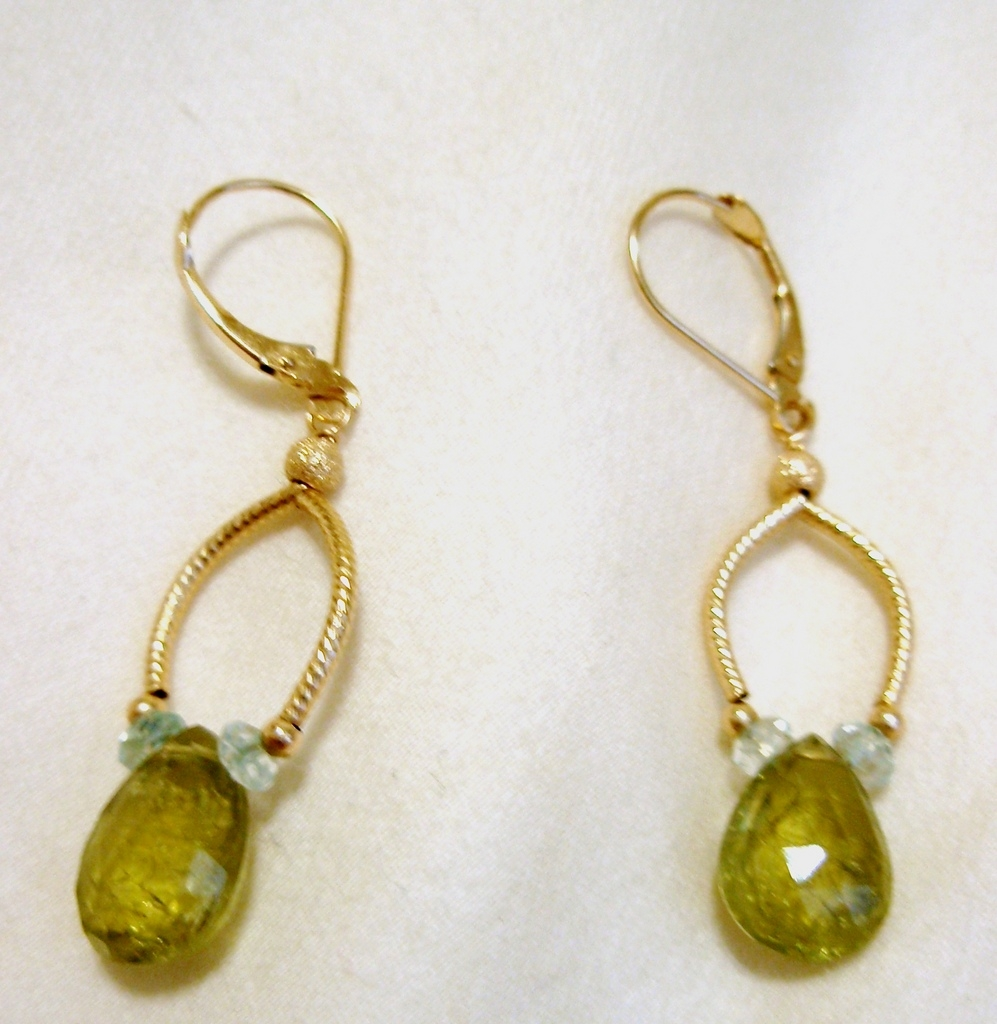 14KT Gold Grossular Garnet Briolette Drop Earrings