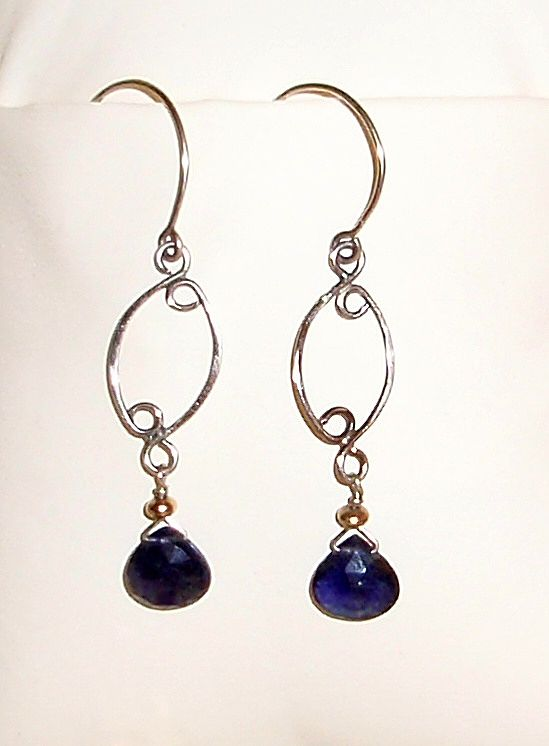 14KT White Gold Filled Iolite Briolette Earrings