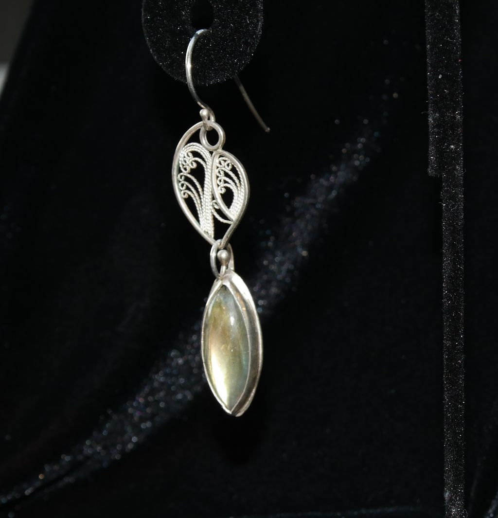 Sterling and fine Silver Marquis Labradorite Cabochon Earrings