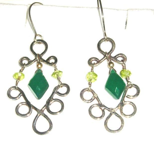 Sterling Silver Green Onyx and Peridot Chandeliers - Earrings
