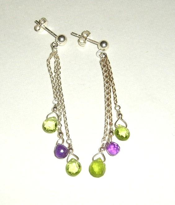 Peridot and Amethyst Earrings in Sterling Silver