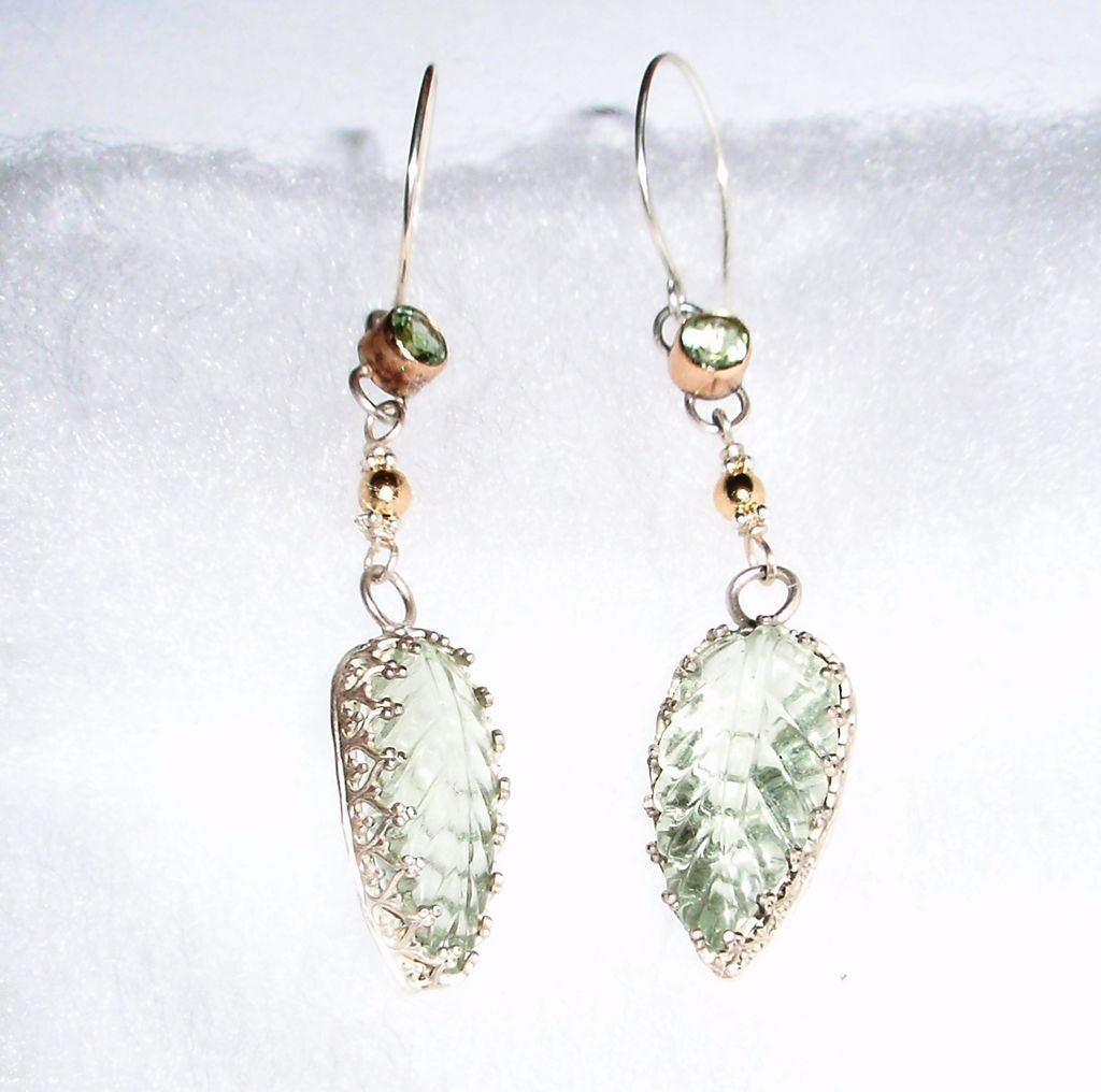 Sterling Silver and 14kt Gold Carved Prasiolite Leaves and Tourmaline  - Earrings