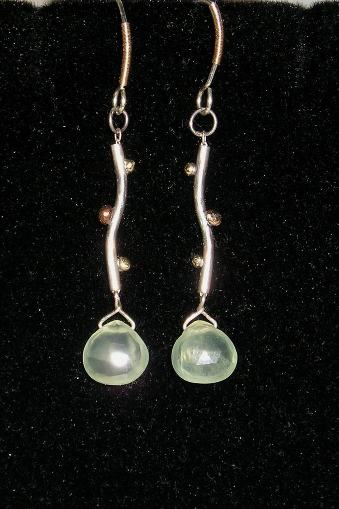 Sterling Silver Curvy Prehnite Drops with Gold balls - Earrings