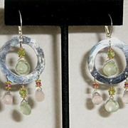 Prehnite and Rose Quartz Sterling Silver Hammered hoops - Earrings