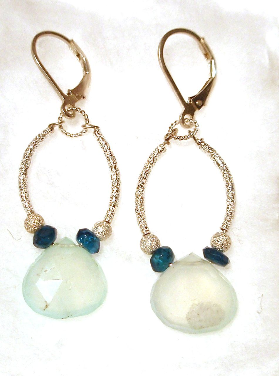 Sterling Silver Peruvian Opal and Apatite Arcs - Earrings