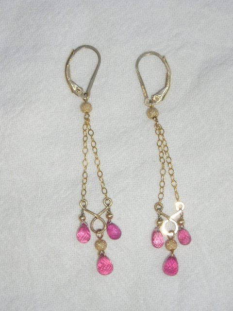14kt Gold Ruby Briolette Drops - Earrings
