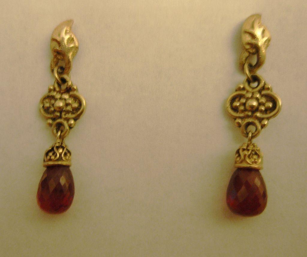 14K Gold Cast Ruby Briolette  - Earrings