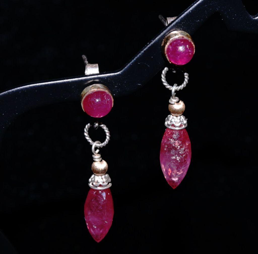 14Kt Gold Ruby Rice Briolette Post Earrings