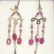 Ruby and Gold Drama - 14kt gold Earrings