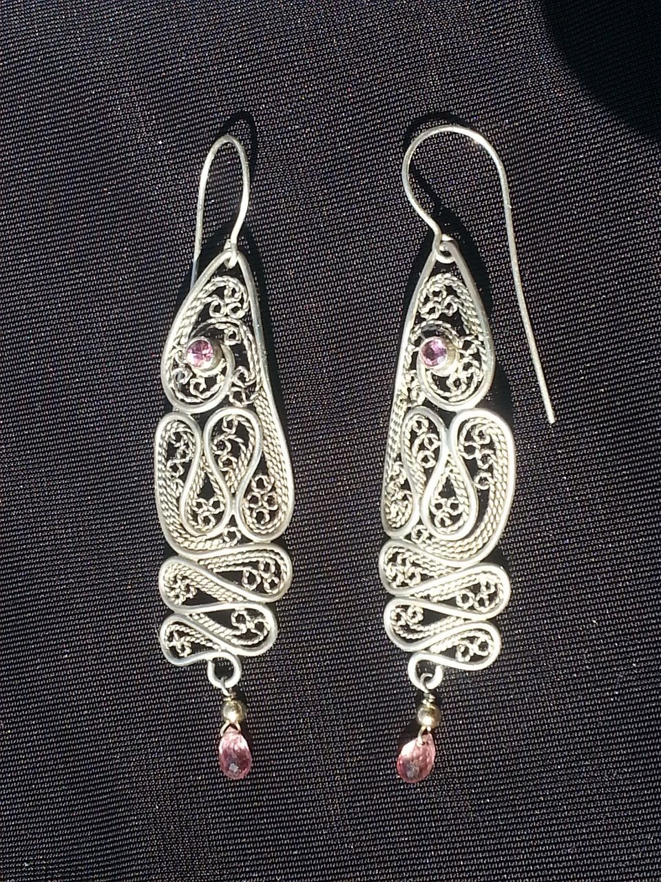 Sterling Silver Ruby and Tourmaline Filigree Drama - Earrings