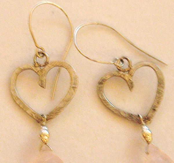 Sterling Silver Textured Heart Carved Rose Quartz - Earrings