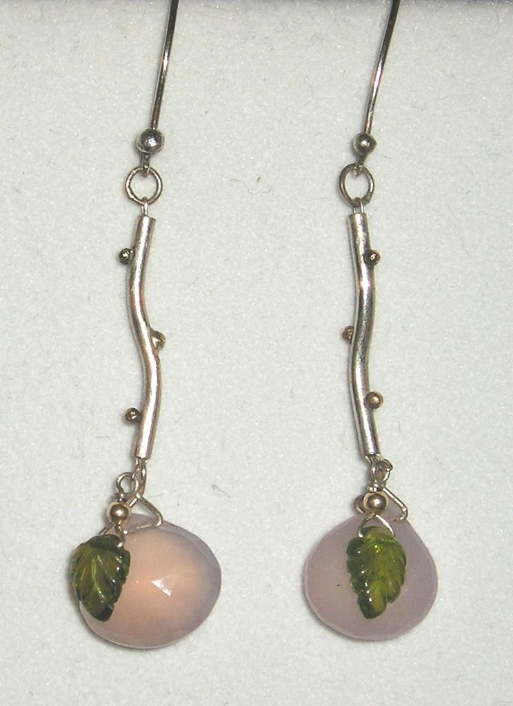 Sterling Silver Rose Quartz Drops & Tourmaline Leaves - Earrings