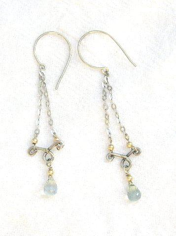 Sapphires drops and White Gold - Earrings