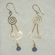 Tanzanite Gold Filled Swirl Earrings