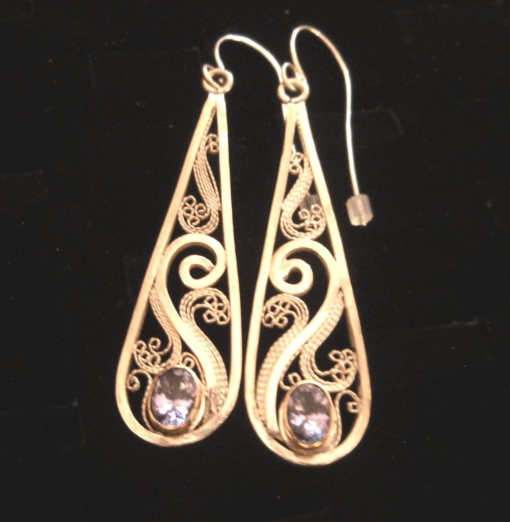 Sterling & Fine Silver & 14K Tanzanite Filigree teardrop Earrings