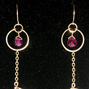 Ringed Tourmaline and Lavender Quartz Earrings