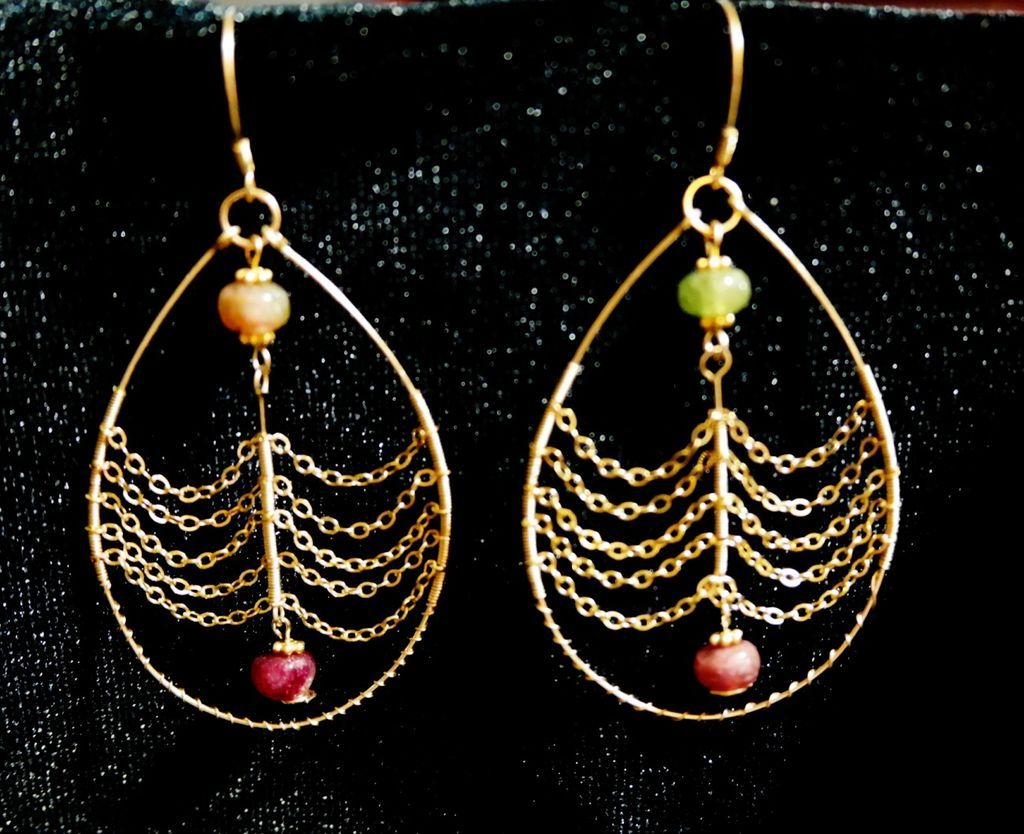 Gold Filled Chained Tourmaline Tear Drop Earrings