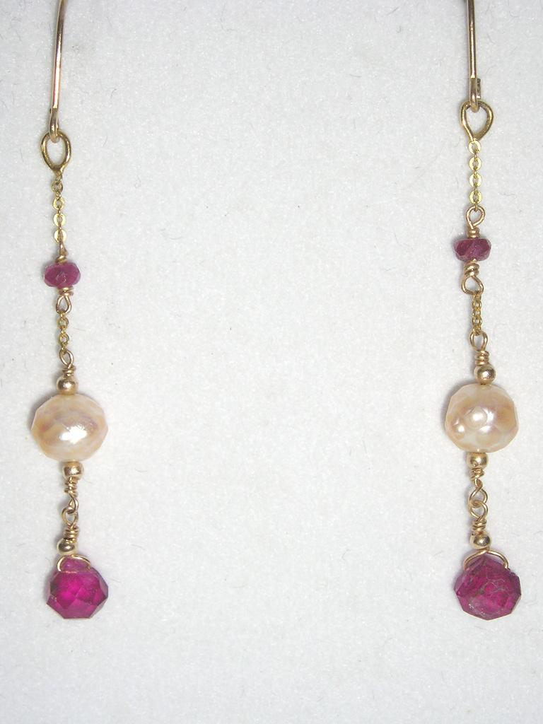 14kt Gold Tourmaline and Faceted Fresh Water Pearls - Earrings