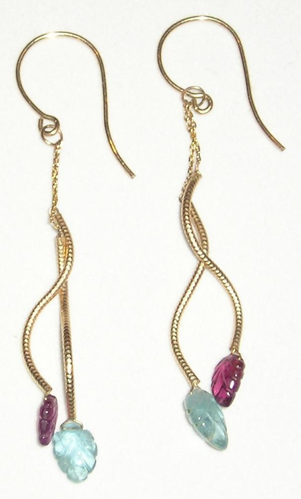 14k Gold Curvy Tourmaline Leaves Drops - Earrings