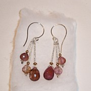 Sterling Silver Tourmaline Briolette Cascade  - Earrings