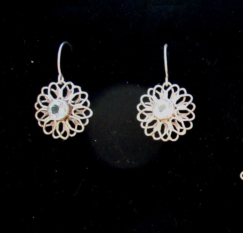 Sterling Silver Flower Topaz - Earrings
