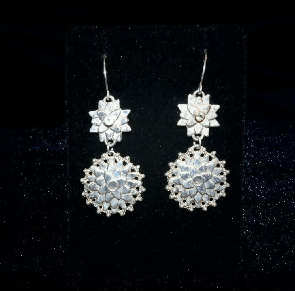 Sterling Silver Sand Cast Sunflower & White Topaz Earrings