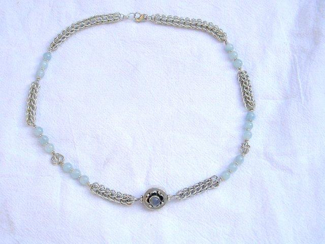 Sterling Silver Aquamarine Persian Chain  - Necklace