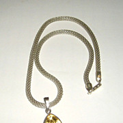 Sterling Silver Trillion Citrine Pendant - Necklace