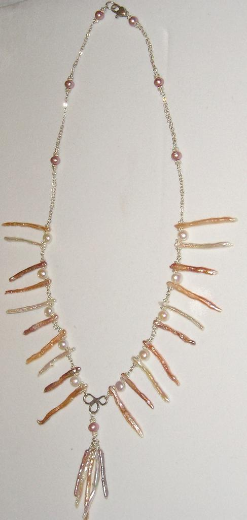 Sterling Silver Fresh Water Stick Pearls - Necklace