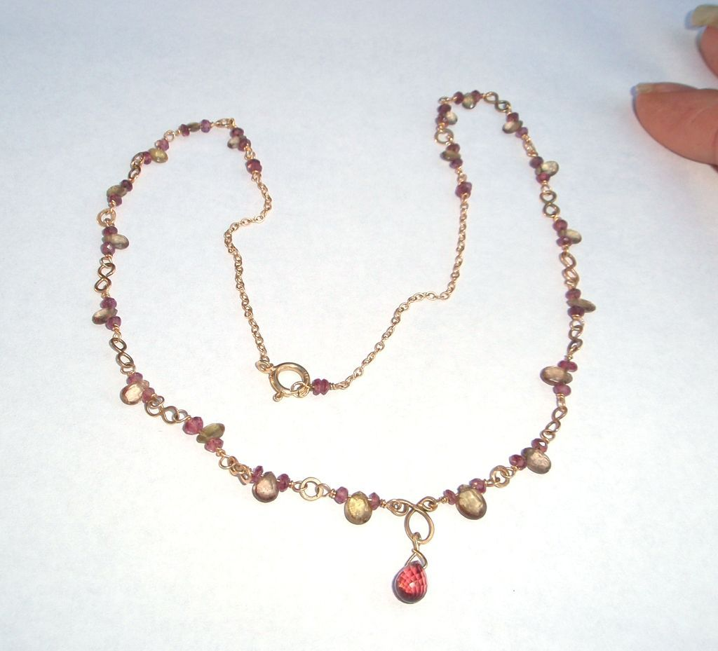 14Kt Gold, Color Change Garnet Briolette Necklace