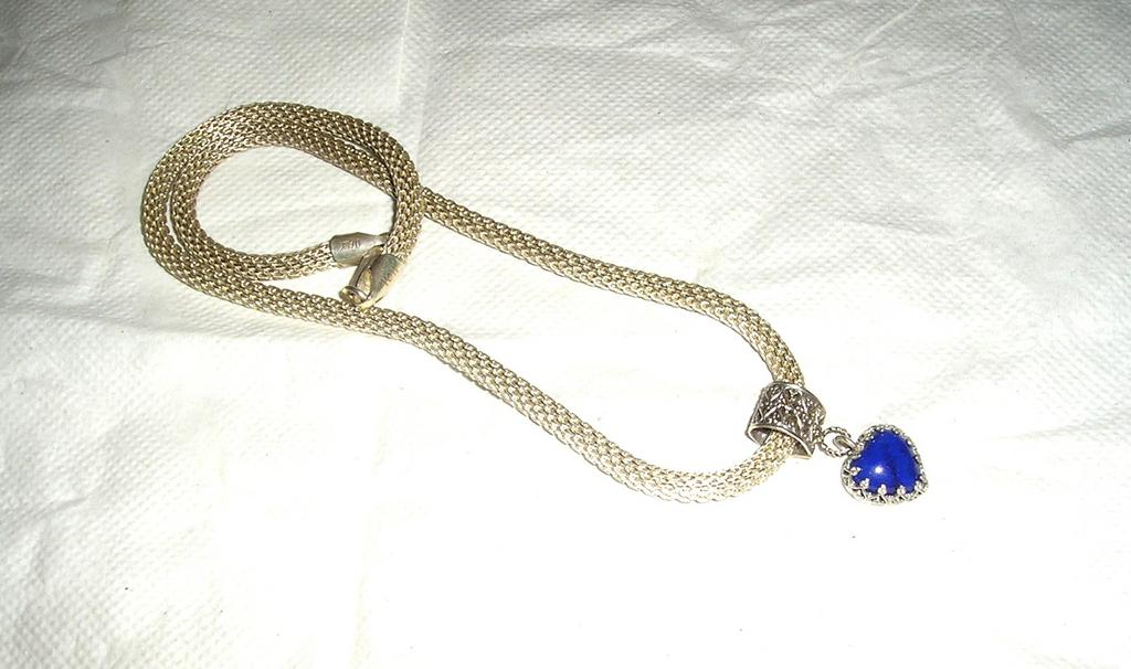 Sterling Silver Lapis Lazuli Filigree Heart Pendant - Necklace