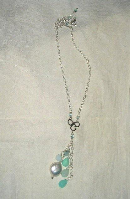 Sterling Silver Peruvian Opal & Freshwater Pearl Cluster  - Necklace