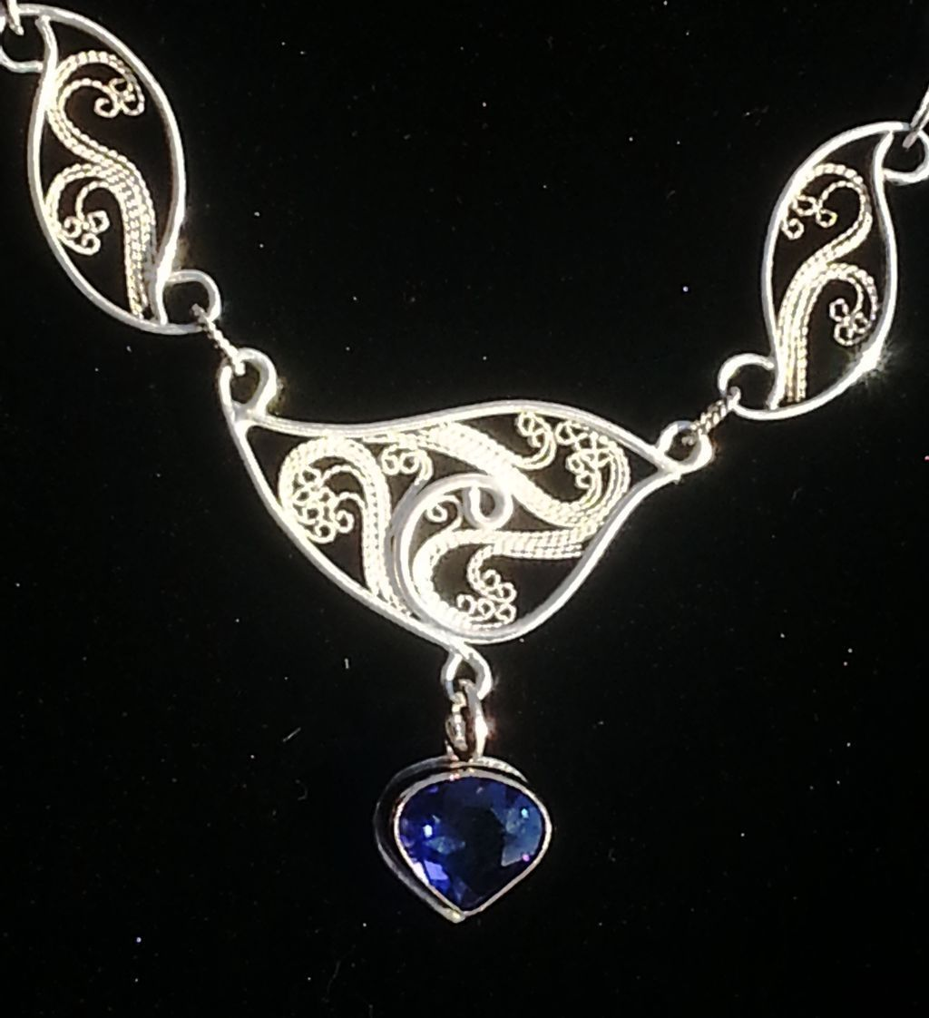 Sterling and Fine SIlver and 14Kt Gold Tanzanite Freeform Filigree Neck Piece