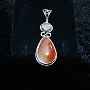 STerling Silver Pear Shaped Agate Cabochon with Rose Quartz - Pendant