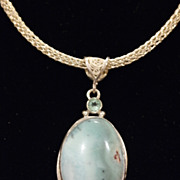 Sterling and Fine Silver Larimar and Topaz Pendant