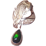 Sterling and Fine Silver Black Opal Forget me Knot - Pendant