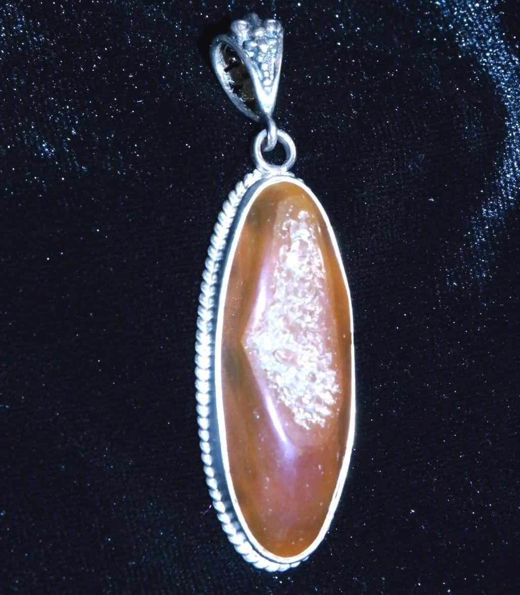 Peach Titanium Druzy Pendant With Filigree Back