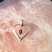 Sterling Silver Heart with Tourmaline Pear Dangle - Pendant