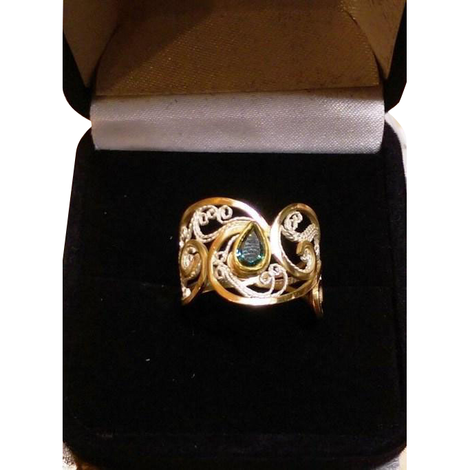 14 & 22Kt Gold and Fine Silver Filigree Green Diamond  - Ring