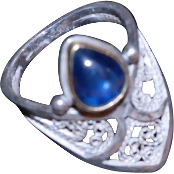 """Moghul Archer"" Sterling,Fine Silver & 22KT Gold Sapphire ring"