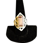 Sterling & Fine Silver Lavender Tourmaline Filigree Ring