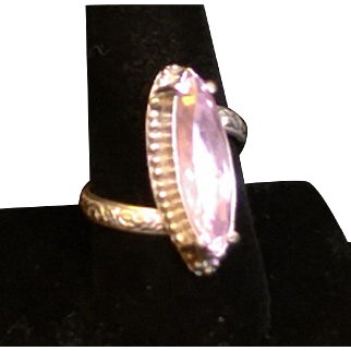 Sterling Silver 8.8 Carat Marquis Kunzite Ring