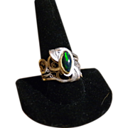 Sterling & Fine Silver & 22KT Gold Black Opal Ring