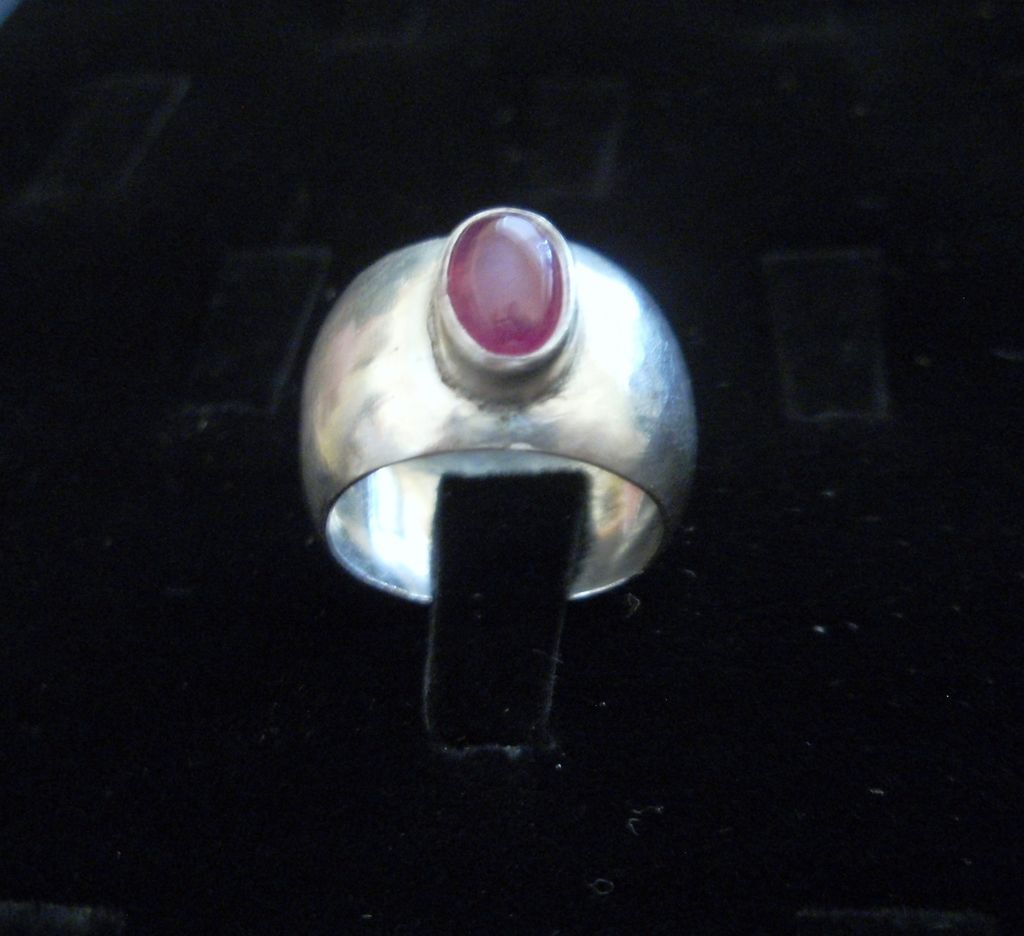Sterling Silver Domed Ruby Wide Band Ring